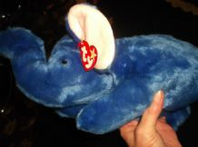 TY BEANIE BUDDY 1998 PLUSH ROYAL BLUE PEANUT THE ELEPHANT EAR TAG + LEG LABEL
